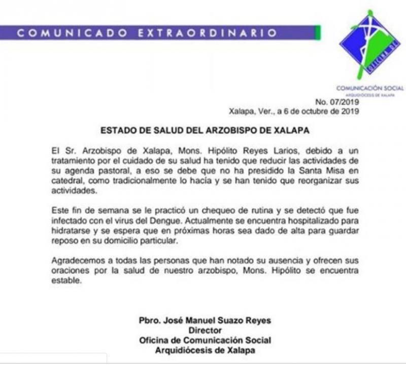 Arzobispo de Xalapa hospitalizado por dengue
