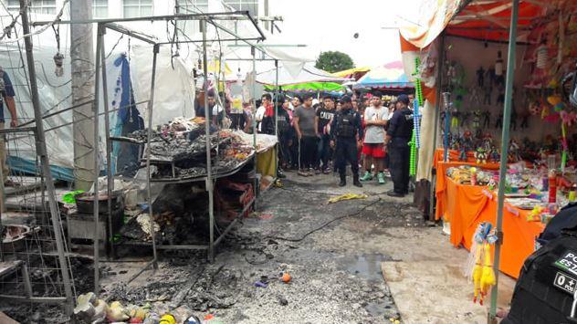 Fuga de gas causa incendio en la feria de San Bruno