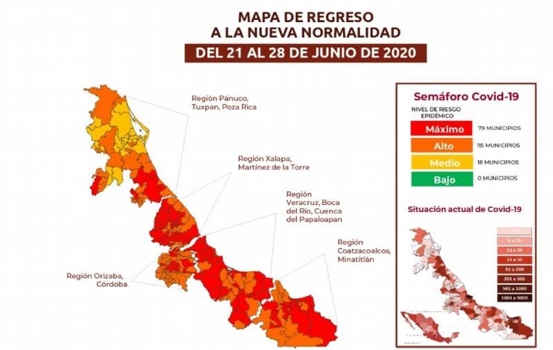 Checa qué municipios están en semáforo rojo, naranja y amarillo en Veracruz