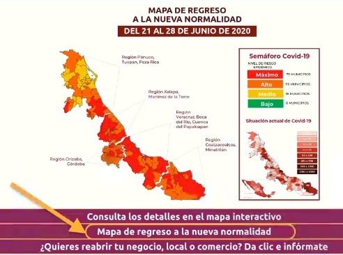 Se mantendrán en semáforo rojo 79 municipios en Veracruz.