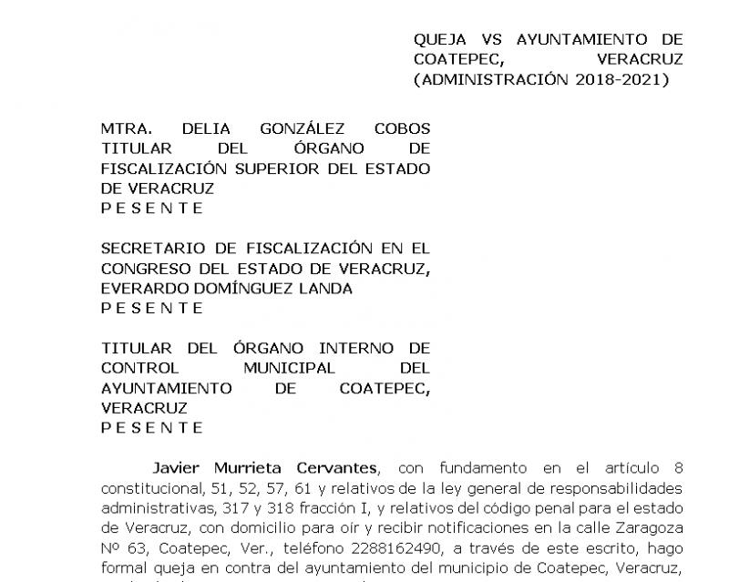 Empresario coatepecano presenta queja contra el Ayuntamiento de Coatepec