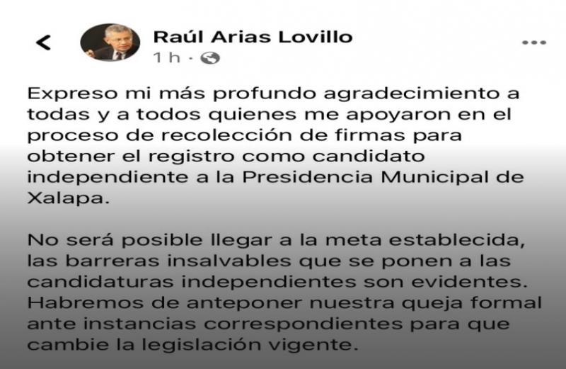 Sin logrará las firmas, se retira de contienda: Arias Lovillo