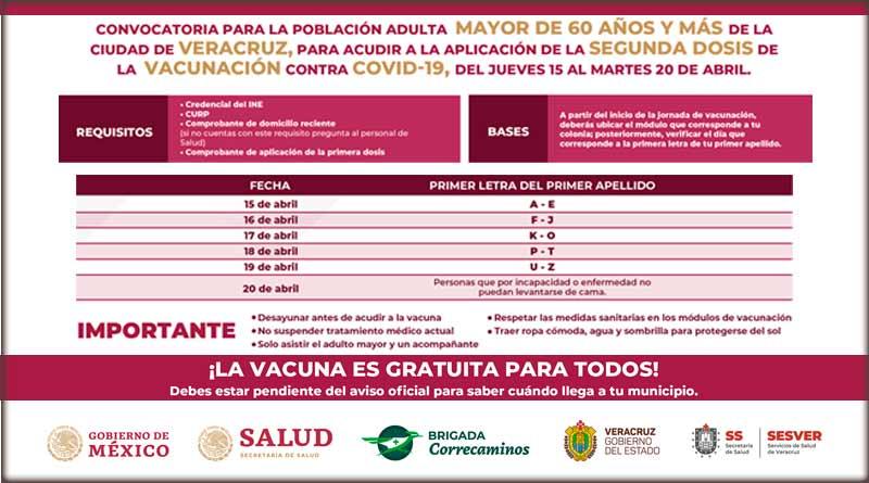Segunda dosis de la vacuna contra COVID-19 en Veracruz Puerto