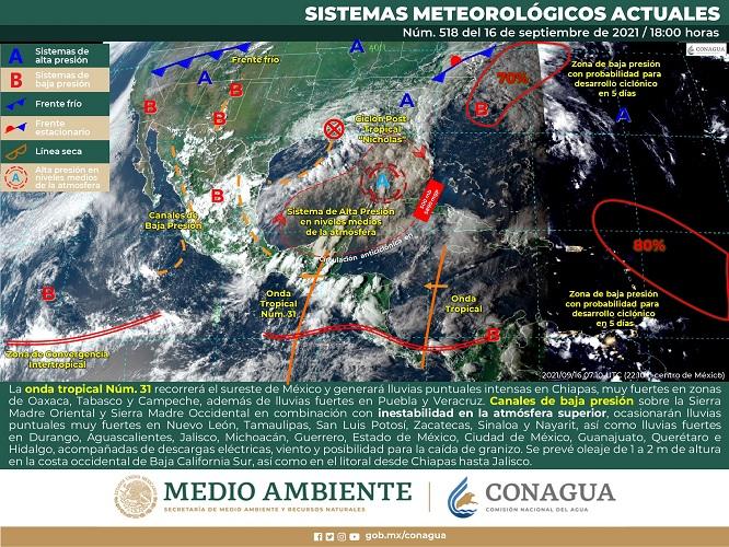 Seguirán las lluvias en la región del Golfo de México